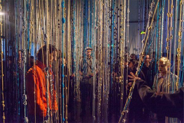 Fred Moten and Wu Tsang, 'Gravitational Feel' (2016), installation and performance. Photo: Florian Braakman.