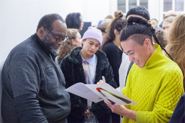 Fred Moten and Wu Tsang, 'Who Touched Me?' (2016), book launch. Photo: Florian Braakman.