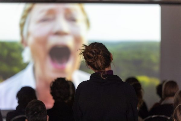 Pauline Curnier Jardin, 'Qu'un sang impur' (2019), screening. Photo: Marcel de Buck.