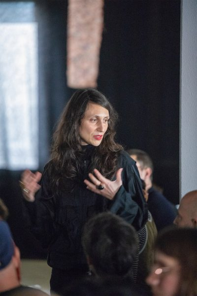Sara Giannini, 'Maquillage as Meditation. Dis-identity, ecstasy and the feminine in Carmelo Bene's performance philosophy' (2019), lecture/screening. Photo: Marcel de Buck.