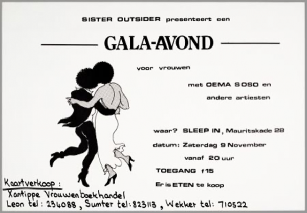 Sister Outsider presents gala night for women, 1986, flyer by Jo Nesbitt